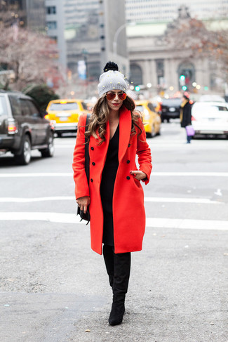 How to wear: black leather crossbody bag, black suede knee high boots, black sweater dress, red coat