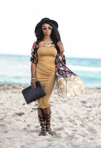 How to wear: black leather clutch, black leather knee high gladiator sandals, tan bodycon dress, black floral kimono