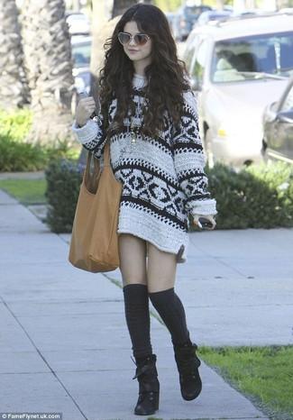 3968bf8ce9d3 ... Selena Gomez wearing Tan Leather Tote Bag, Black Knee High Socks, Black  Suede Lace