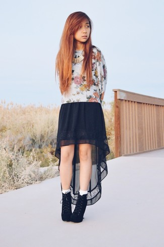 Women's White Socks, Black Suede Lace-up Ankle Boots, Black Chiffon Maxi Skirt, Beige Floral Crew-neck Sweater
