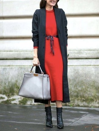 How to wear: grey leather tote bag, black leather lace-up ankle boots, red wool midi dress, charcoal coat