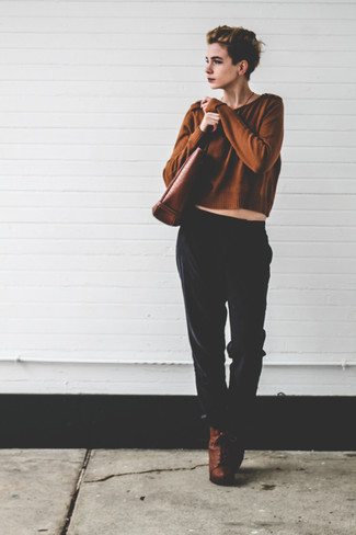 How to wear: brown leather tote bag, brown leather lace-up ankle boots, black pajama pants, brown cropped sweater