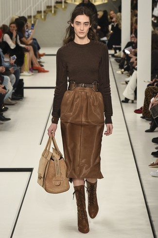 How to wear: tan suede tote bag, brown leather lace-up ankle boots, brown leather pencil skirt, dark brown crew-neck sweater