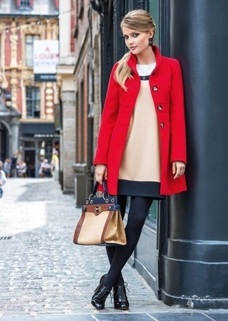 How to wear: tan leather satchel bag, black leather lace-up ankle boots, beige wool sheath dress, red coat