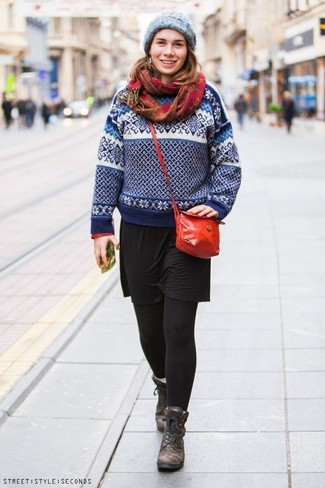 How to Wear a Grey Knit Beanie For Women: When you want to look stylish and stay comfortable, team a white and navy fair isle crew-neck sweater with a grey knit beanie. If you wish to effortlesslly glam up this ensemble with footwear, why not add a pair of dark brown leather lace-up flat boots to the mix?