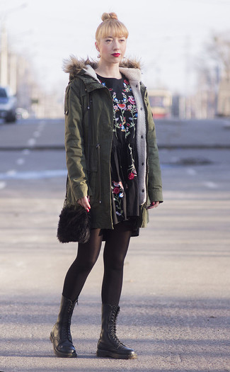 How to wear: black fur crossbody bag, black leather lace-up flat boots, black embroidered casual dress, olive parka