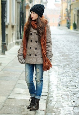 How to wear: grey wool gloves, dark brown leather lace-up flat boots, blue ripped jeans, brown pea coat