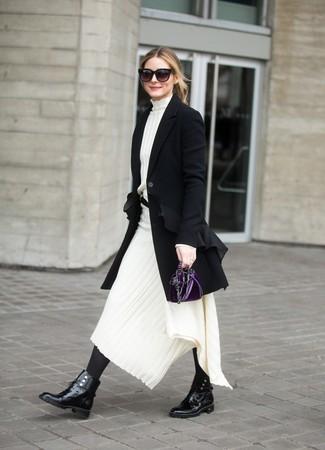 How to wear: dark purple velvet clutch, black leather lace-up flat boots, white knit midi dress, black coat