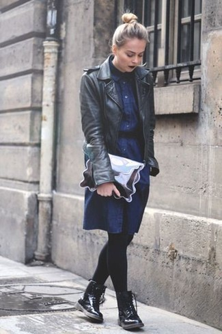 How to wear: silver leather clutch, black leather lace-up flat boots, navy denim shirtdress, black leather biker jacket