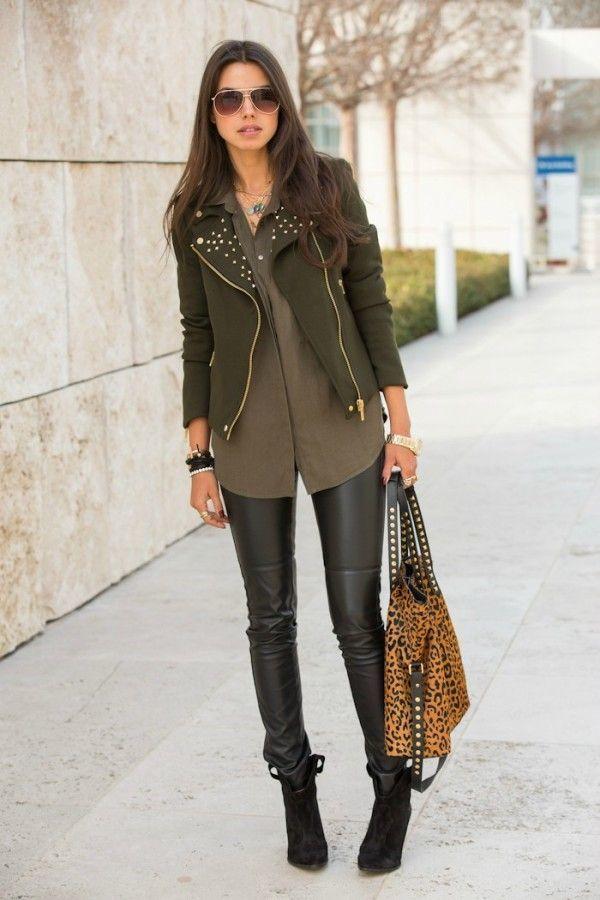 c7fda7028 Women's Dark Brown Suede Ankle Boots, Black Leather Leggings, Brown ...