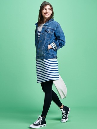 How to wear: black and white canvas high top sneakers, black leggings, white and navy horizontal striped casual dress, blue denim jacket