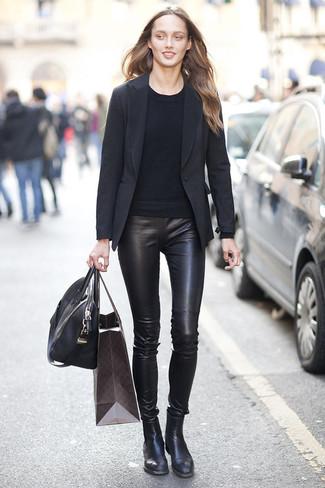 How to wear: black leather chelsea boots, black leather leggings, black crew-neck sweater, black blazer