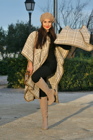 How to wear: beige suede knee high boots, black leggings, black fluffy crew-neck sweater, beige plaid cape coat