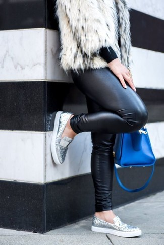 How to wear: silver sequin loafers, black leather leggings, black crew-neck sweater, white fur jacket