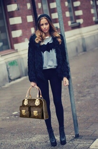 How to wear: black leather ankle boots, black leggings, grey print crew-neck sweater, black fur jacket