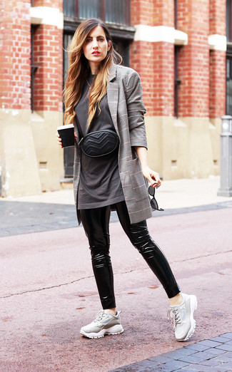 How to wear: grey athletic shoes, black leather leggings, charcoal crew-neck t-shirt, grey plaid blazer