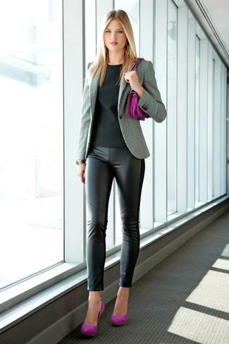 How to wear: purple suede pumps, black leather leggings, black crew-neck t-shirt, grey plaid blazer