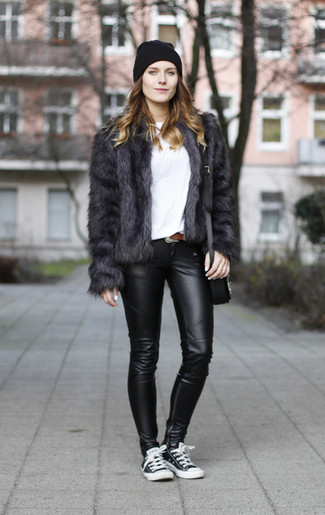 How to wear: black and white low top sneakers, black leather leggings, white crew-neck t-shirt, charcoal fur jacket