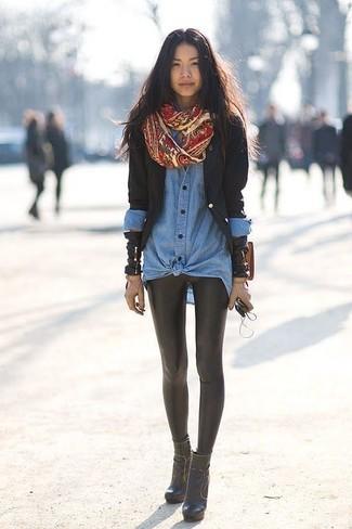 How to wear: black leather ankle boots, black leather leggings, blue denim shirt, black blazer