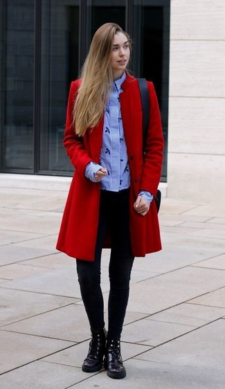 How to wear: black leather lace-up flat boots, black leggings, light blue vertical striped dress shirt, red coat