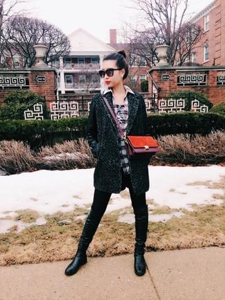 How to wear: black leather knee high boots, black leggings, grey plaid dress shirt, dark green coat
