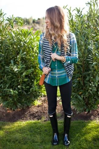 5c5632b342797 How to wear: black rain boots, black leggings, green plaid dress shirt,