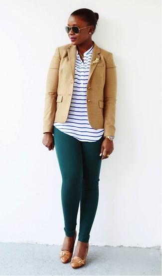How to wear: tan leather pumps, dark green leggings, white and navy horizontal striped henley shirt, tan blazer