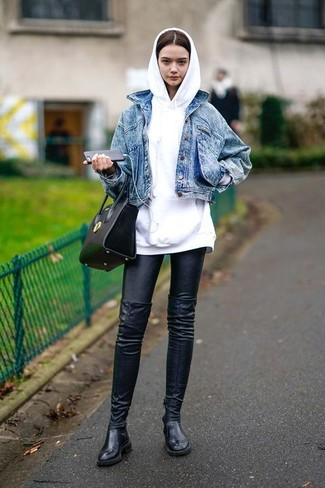 How to wear: black leather over the knee boots, black leather leggings, white hoodie, blue denim jacket