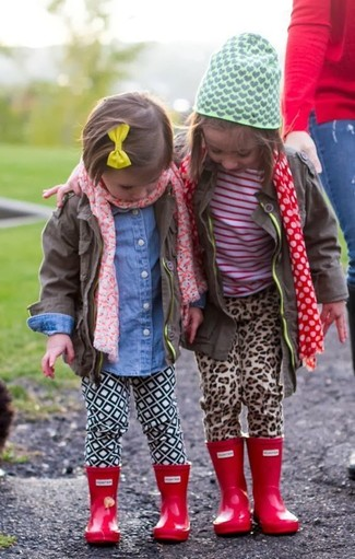 How to Wear White Leggings For Girls: Go for a brown jacket and white leggings for your little princess for a laid-back yet fashion-forward outfit. Red rain boots are a savvy choice to finish this look.