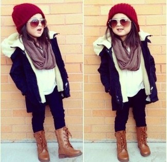 How to wear: brown boots, navy leggings, white long sleeve shirt, navy parka