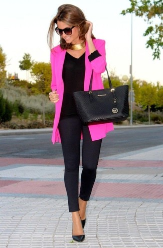 How to wear: black leather pumps, black leggings, black long sleeve t-shirt, hot pink blazer