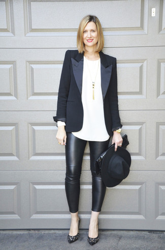 How to wear: black embellished leather pumps, black leather leggings, white long sleeve t-shirt, black blazer
