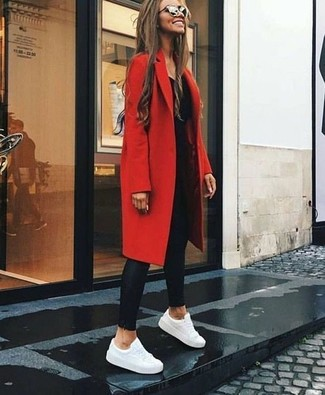 How to wear: white leather low top sneakers, black leather leggings, black long sleeve t-shirt, red coat