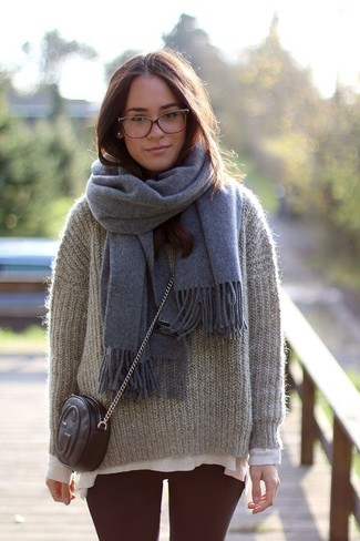 How to Wear a Grey Scarf For Women: A grey mohair crew-neck sweater and a grey scarf paired together are an ultra covetable getup for fashionistas who love relaxed looks.