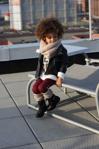 How to Wear a White Long Sleeve T-Shirt For Girls: Choose a white long sleeve t-shirt and burgundy leggings for your little angel for a fun day in the park. As far as footwear is concerned, suggest that your tot throw in a pair of black boots.