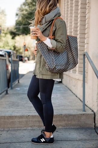 How to wear: black athletic shoes, black leggings, white long sleeve t-shirt, olive military jacket