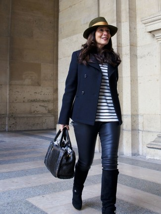 How to wear: black suede knee high boots, black leather leggings, white and navy horizontal striped long sleeve t-shirt, navy pea coat