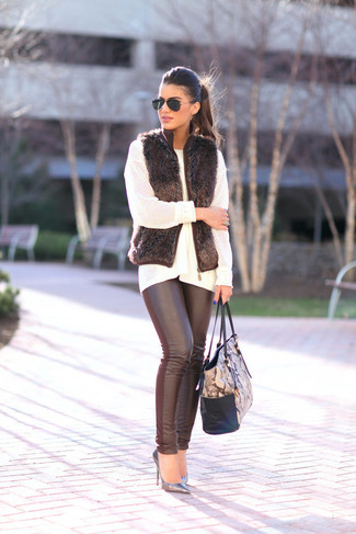 How to wear: silver leather pumps, black leather leggings, white knit oversized sweater, black fur vest