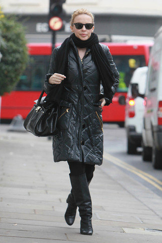 How to wear: black leather knee high boots, black leggings, black puffer coat, black shawl