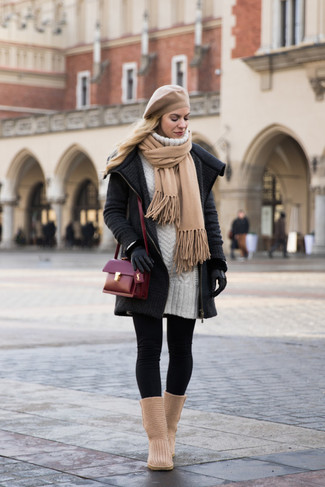 How to wear: tan uggs, black leggings, white sweater dress, charcoal knit coat