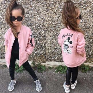 Girls' Looks & Outfits: What To Wear In 2020: Opt for your darling's comfort with this combo of a pink jacket and black leather leggings. As for footwear your little one will love grey sneakers for this getup.