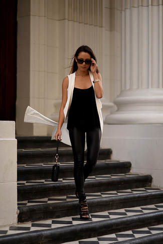 Black High Waisted Leather Leggings