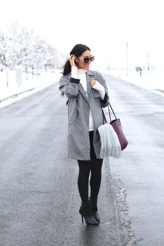 How to wear: black fringe leather ankle boots, black leggings, white turtleneck, grey coat