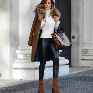 How to wear: tobacco suede ankle boots, black leather leggings, white turtleneck, brown fur collar coat