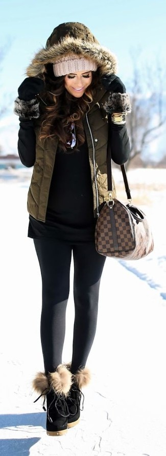 How to wear: black suede lace-up ankle boots, black leggings, black turtleneck, olive quilted gilet