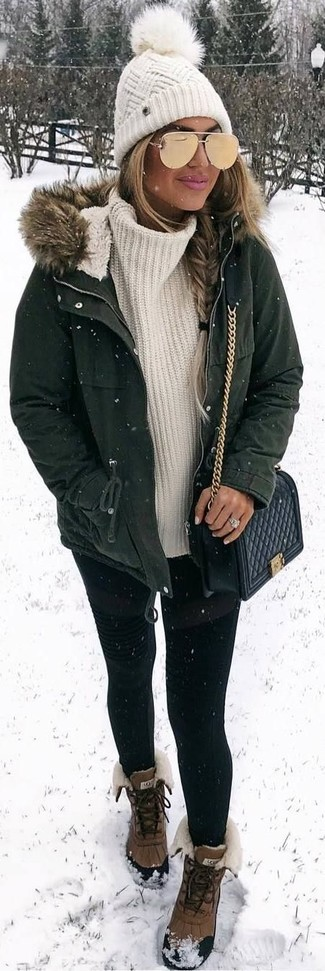 How to wear: brown snow boots, black leggings, white knit turtleneck, dark green parka