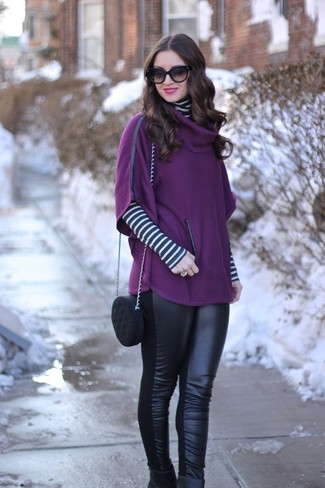 Women's Looks & Outfits: What To Wear In 2020: Choose a purple poncho and black leather leggings to get a casual yet stylish getup. Feeling experimental? Change things up a bit by finishing off with a pair of black leather ankle boots.
