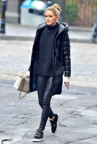 How to wear: black embellished leather slip-on sneakers, black leather leggings, black turtleneck, black puffer coat