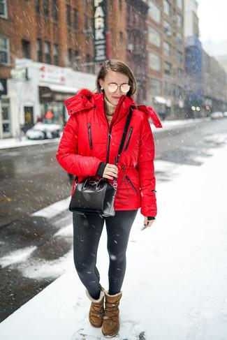 How to wear: brown uggs, black leather leggings, tan turtleneck, red puffer jacket