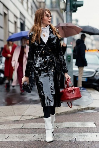 How to wear: white leather mid-calf boots, black leggings, white turtleneck, black leather trenchcoat